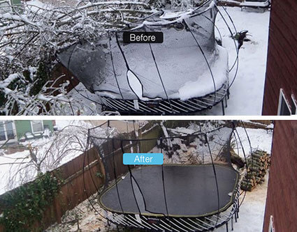 Trampoline crushed in winter