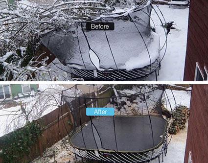 Trampoline crushed in winter